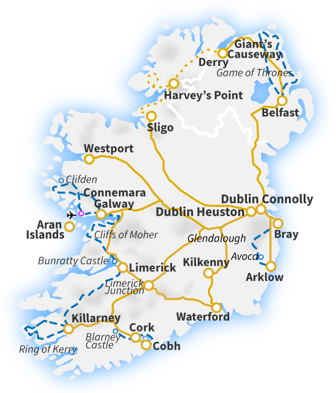 Train Travel In Ireland Map.Railtours Ireland First Class Train And Railtours In Ireland