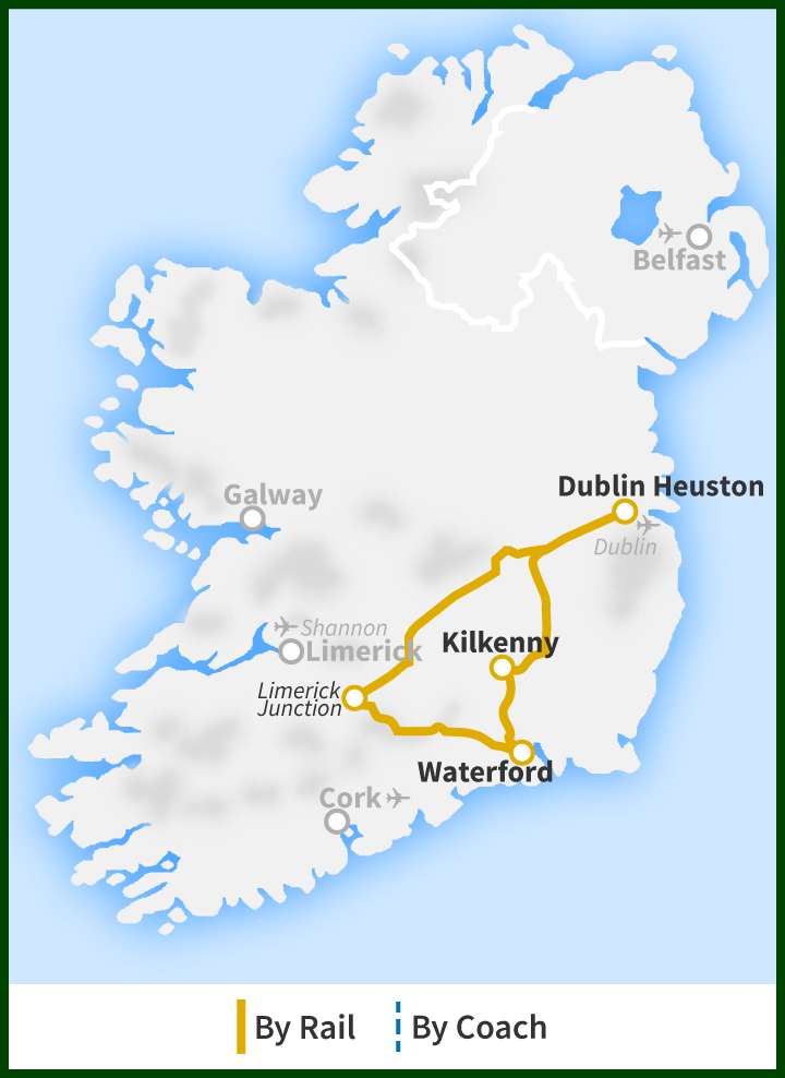 Map Of Ireland East Coast.Day Tour To Waterford Crystal Kilkenny City The Suir Valley