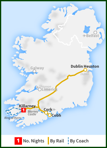 Tour of Ireland Map - Cork, Blarney Castle, Ring of Kerry