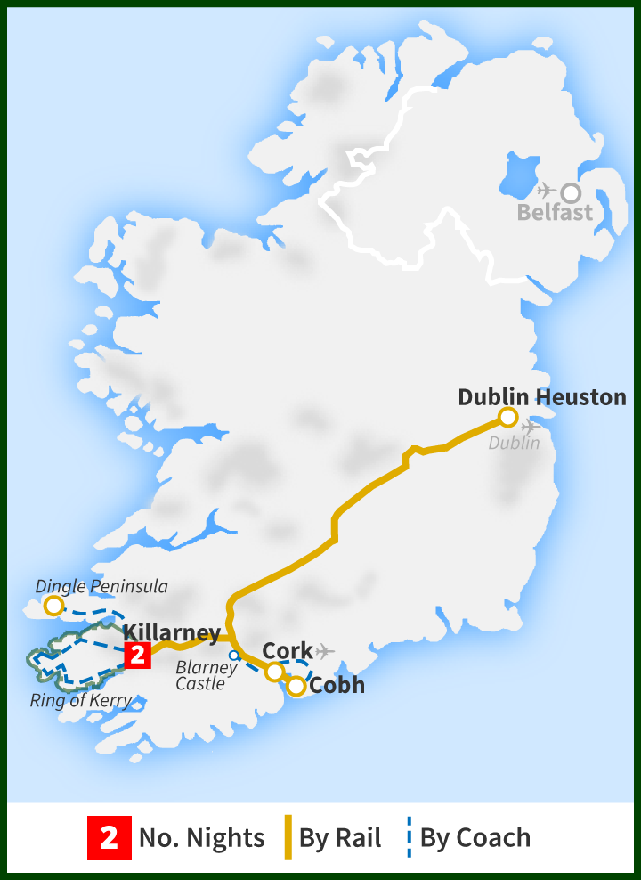 Tour of Ireland Map - Cork, Blarney Castle, Ring of Kerry, Dingle Peninsula