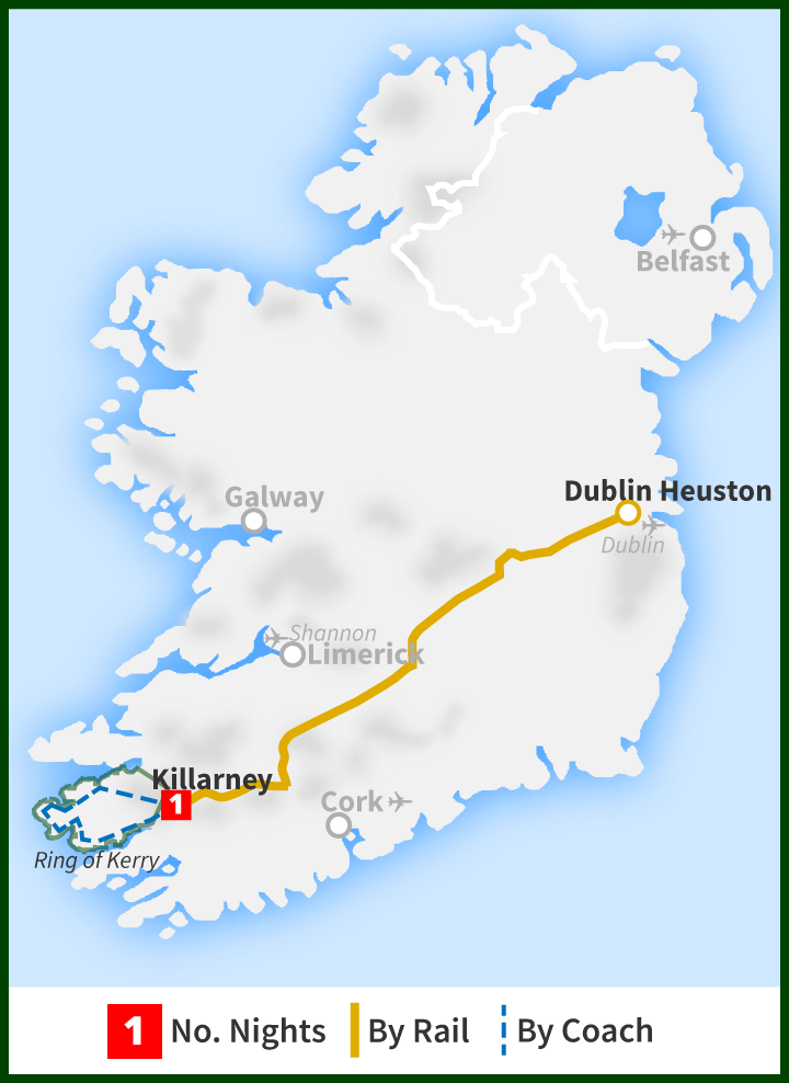 Tour of Ireland Map - Killarney, Ring of Kerry