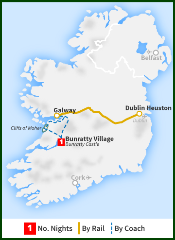 Tour of Ireland Map - Bunratty Village, Galway