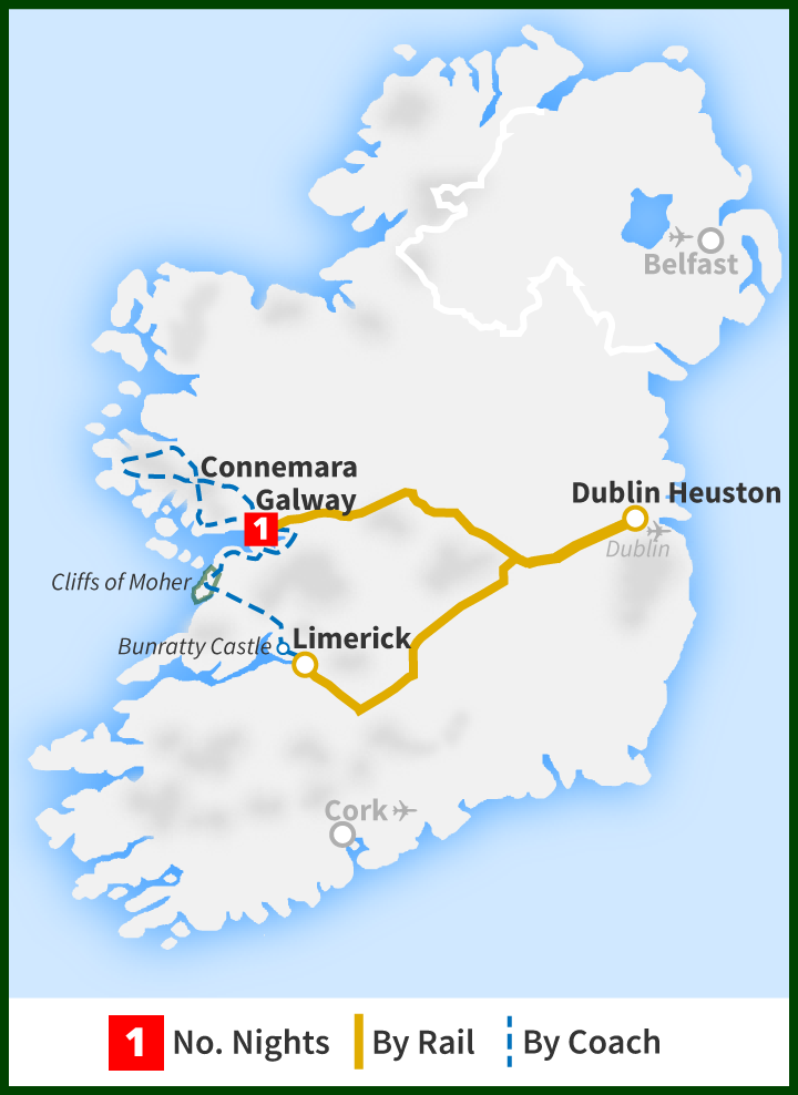 Map Of The West Of Ireland.Two Day Tour The West Coast Explorer Railtours Ireland First Class