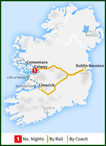 Tour of Ireland Map - Limerick, Galway, Connemara