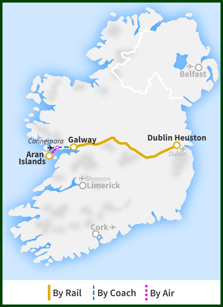 Map Of Ireland Islands.Day Tour To The Aran Islands From Dublin Railtours Ireland First Class
