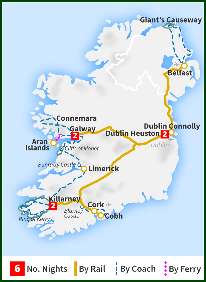 Map Of North And South Ireland.Six Day Rail Tour The All Ireland Tour Railtours Ireland First