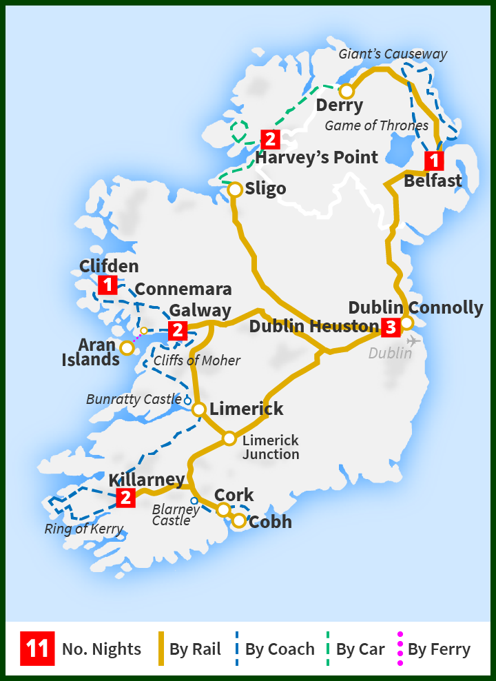 anic Rail Trail & Wild Atlantic Way including Donegal Derry Rail Trail Map on