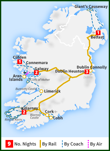 Tour of Ireland Map - Titanic Rail, Wild Atlantic Way