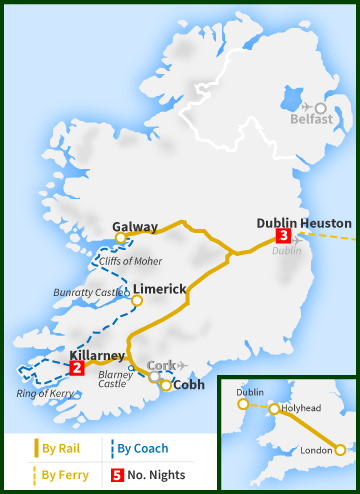 six day london dublin blarney ring of kerry cliffs of moher railtours ireland first class. Black Bedroom Furniture Sets. Home Design Ideas