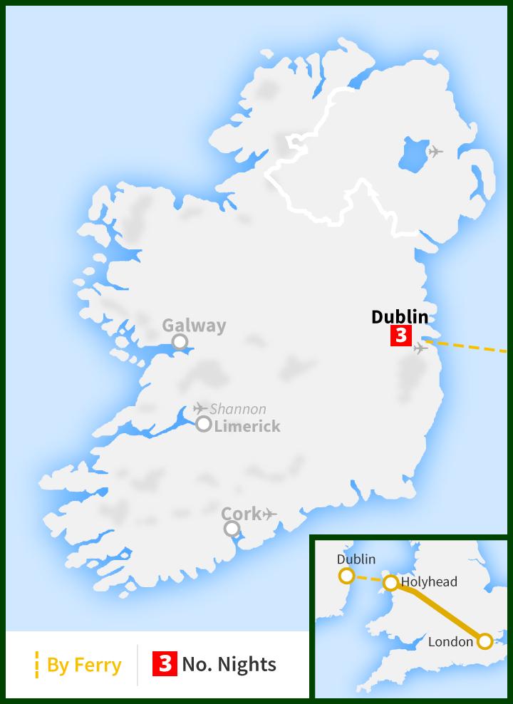 Map Of England Holyhead.Four Day Tour London To Dublin Raitours Ireland First Class