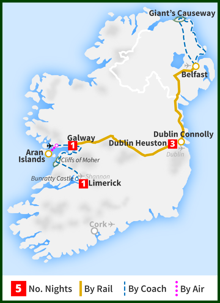Tour of Ireland Map - Limerick, Cliffs of Moher, Aran Islands, Galway, Dublin, Belfast, Giant's Causeway